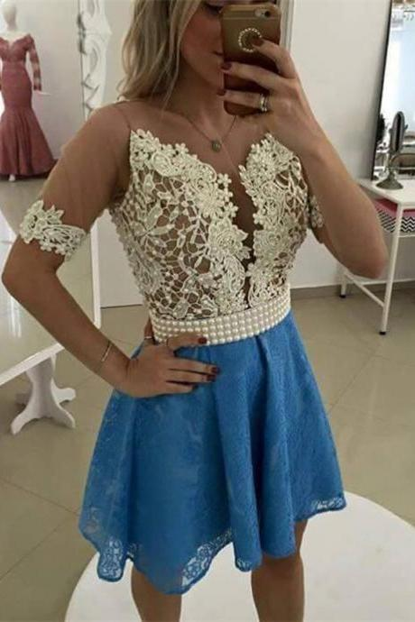 New Arrival Short Sleeve pearls Lace Short Homecoming Dresses Plus Size Women Party Dresses 2018 Girls Cocktail Gowns , Pageant Gowns Mini