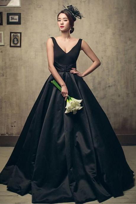 2018 Black Satin Ruffle Long Prom Dresses Off Shoulder Ball Gowns Evening Dresses Custom Made Wedding Party Gowns , 2018 Formal Evening Gowns