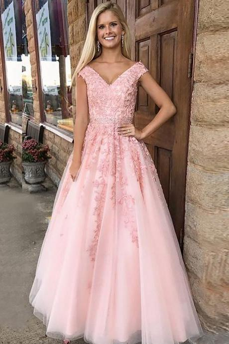 Pink A-Line/Princess V-Neck Sleeveless Floor-Length Applique Tulle Dresses,2018 Sexy V-Neck Wedding Prom Gowns , Long Evening Gowns ,Plus Size Evening Dresses