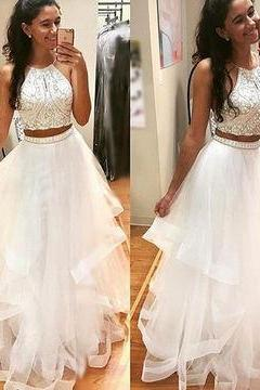 White Beaded Two Pieces Tull Prom Dresses 2018 Off Shoulder Beaded Long Evening Gowns ,2 Pieces Cocktail Gowns ,Plus Size Women PARTY Dresses