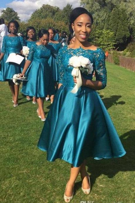 Lace Top Tea-Length Country Garden Teal Navy Blue Bridesmaid Dresses Satin Short Wedding Guest Dresses Party Dresses Half Sleeve 2018 Green Short Wedding Bridesmaid Gowns Plus Size