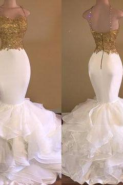 Plus Size Gold Lace Mermaid Prom Dresses 2018 New Arrival Skirt Tiers Formal Party Dresses Mermaid Women Gowns , Off Shoulder Wedding Party Gowns