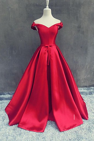 Off the shoulder Red Prom Dress,Long Prom Dresses,Charming Prom Dresses,Evening Dress Prom Gowns, Formal Women Dress,prom dress,2018 Red Satin Pricess Evening Gowns , Wedding Party Dresses