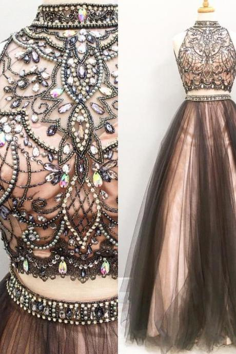 Two Pieces Tulle Prom Dress,Long Prom Dresses,Charming Prom Dresses,Evening Dress, Prom Gowns, Formal Women Dress,prom dress,Newly Beaded Crystal 2 pieces Long Evening Dress, Wedding Party Gowns Plus Size