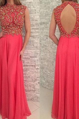 Backless Chiffon Prom Dress,Long Prom Dresses,Charming Prom Dresses,Evening Dress Prom Gowns, Formal Women Dress,prom dress,Formal Evening Dresses