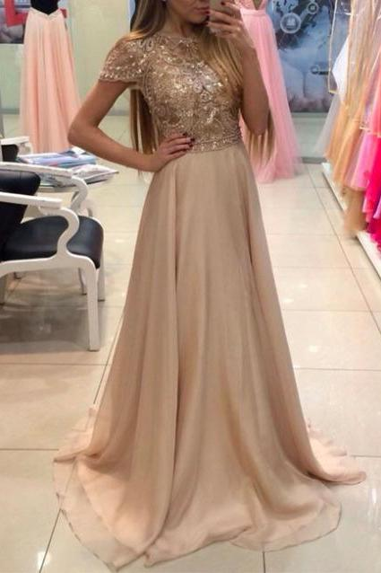 A-Line Prom Dress,Long Prom Dresses,Charming Prom Dresses,Evening Dress, Prom Gowns, Formal Women Dress,prom dress,2018 Short Sleeve Beaded Formal Evening Dress