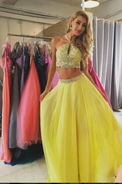 Two Pieces Halter Prom Dress,Long Prom Dresses,Charming Prom Dresses,Evening Dress Prom Gowns, Formal Women Dress,prom dress,2018 Shiny Beaded Yellow Prom Dress, Long Party Gowns