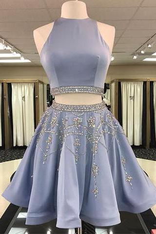Two Pieces A-line Scoop Short Prom Dress Beaded Homecoming Dresses,2018 New Arrival 2 Pieces Short Cocktail Dress. Plus Size Beaded Wedding Party Gowns