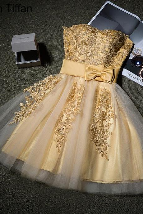 A-line Sweetheart Short Mini Tulle Short Prom Dress Homecoming Dresses ,2018 New Arrival Gold Lace Short Cocktail Dress, Women Party Gowns ,Graduation Gowns