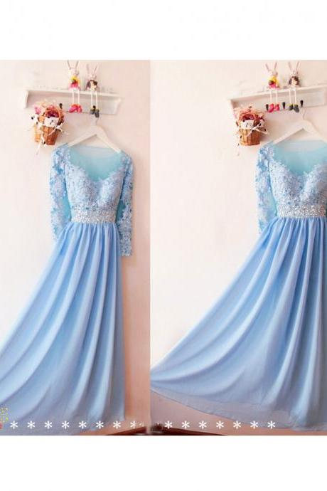 Bridesmaid Dresses Formal Prom Dresses Pretty Prom Dresses Women Dresses Floor-length Prom Dress/Evening Dress ,2018 Light Blue Chiffon Long Bridesmaids Dress, Lace Wedding Party Gowns