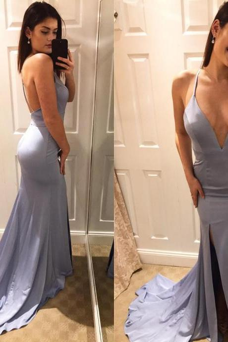 V-Neck Sexy Satin Prom Dress,Long Prom Dresses,Prom Dresses,Evening Dress, Evening Dresses,Prom Gowns, Formal Women Dress,prom dress,2018 Plus Size Wedding Women Gowns