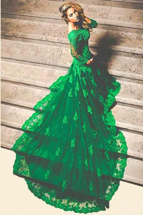 Green Mermaid Prom Dresses Long Sleeve Lace Appliques Formal Party Dresses 2018 Long Sleeve Lace Formal Evening Dresses Plus Size Muslim Party Gowns ,Custom Made Women Gowns