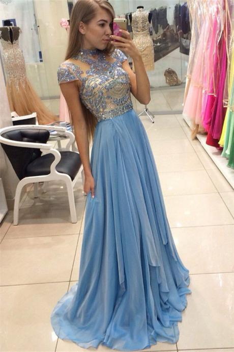 New Arrival Delicate Beadings Chiffon A-line Prom Dress Cap Sleeve Party Evening Gowns 2018 Blue Beaded Chiffon Long Party Gowns, Blue Evening Dress, Wedding Women Gowns ,Plus Size Homecoming Dress