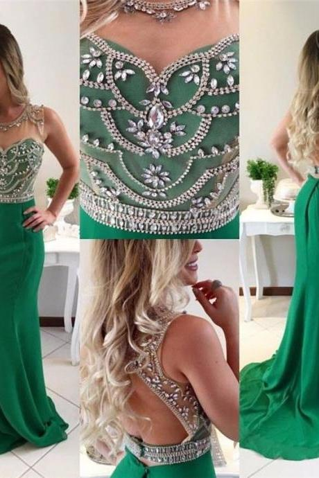 Emerald Green Evening dress Beading Rhinestones Mermaid Prom Party Gown2018 Custom Made Chiffon Long Prom Dresses,Formal Evening Gowns ,Plus Size Wedding Party Dress