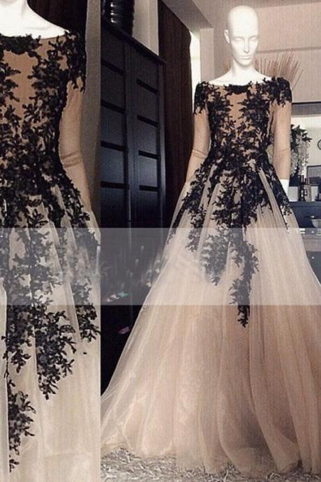 Boat Neck Long Evening Dress Women Black Appliques Tulle Champagne Formal Gown 2018 Long Sleeve Organza Long Prom Dresses , Women Gowns , Formal Women Dress
