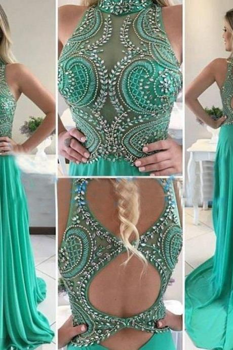 Sparkly Beaded Formal Prom Dresses Plus Size High Neck Long Prom Dress 2018 New Arrival Green Chiffon Long Evening Dresses Sexy Backless Party Gowns ,Wedding Women Gowns