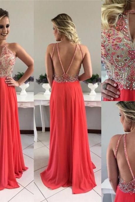 Stunning Beaded Chiffon Prom Dresses Sexy Backless Summer Prom Gowns Custom Made Graduation Dress 2018 , Long Prom Gowns , High Neck Prom Gowns