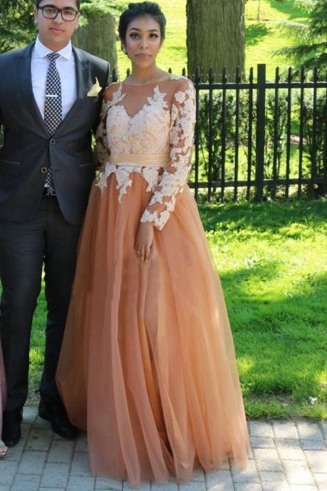 Long Sleeeve Brown Tulle African Prom Dresses Ivory Applique Evening Dress 2018 Plus Size Formal Evening Dress, A Line Prom Dress, Formal Women Gowns ,Wedding Party Gowns