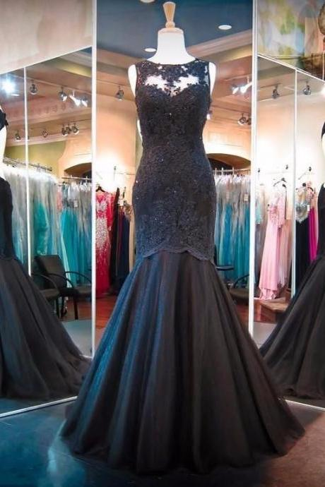 Hot Black Mermaid Prom Dresses Backless Lace Applique Sweep Train Formal Dresses 2018 Sexy Back Open Formal Prom Dress, Wedding Party Dress, Long Evening Gowns