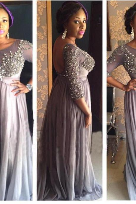 Festa Backless Sexy Long Dress Evening Crystal Custom Made Plus Size Prom Gown 2018 Plus Size Beaded Long Evening Dress, African Evening Gowns ,Formal Gowns