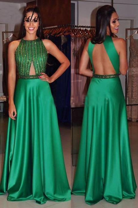 New Arrival Green Satin Prom Dresses 2018 Off Shoulder Beaded A lINE Prom Gowns Plus Size Long Evening Dresses ,Long Graduation Dress, Formal Party Gowns