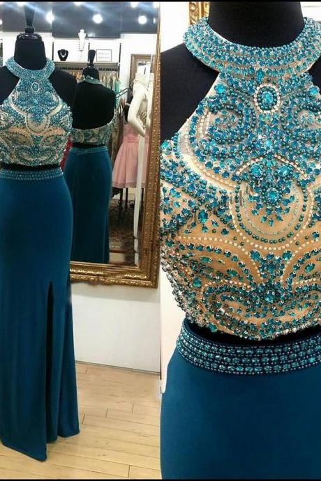2018 New Arrival Blue Beaded Halter Prom Dresses Sexy Split Long Prom Gowns Off Shoulder Evening Dress, Formal Evening Gowns , Wedding Party Dresss