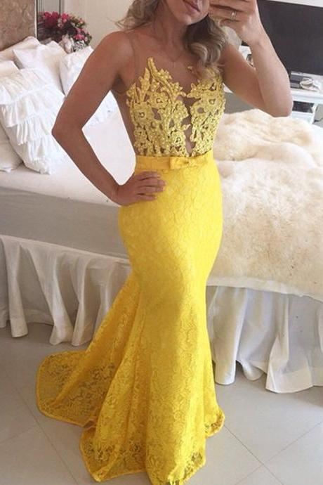 New Arrival Yellow Lace Mermaid Prom Dresses 2018 Plus Size Crew Neck Sheer Long Prom Gowns Off Shoulder Wedding Party Gowns .Women Pageant Gowns