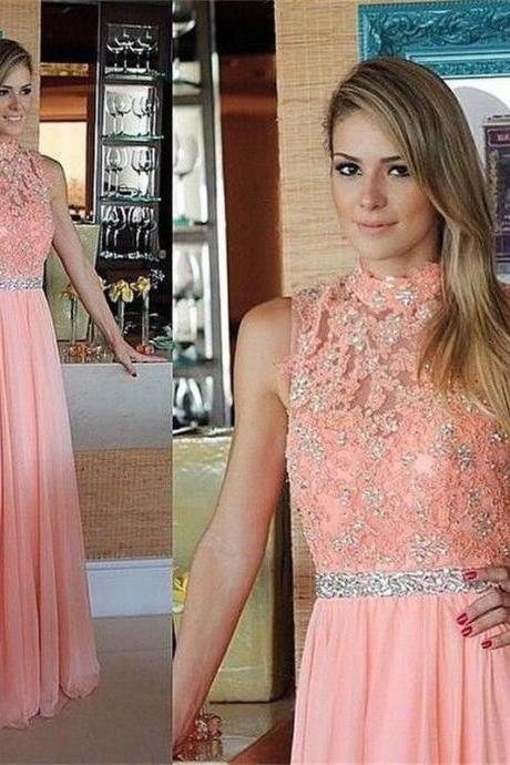 2018 Coral Chiffon Prom Dresses 2018 Custom Made Beaded Long Evening Dress A Line Lace Prom Gowns , A Line Women Party Dress, High Quality Wedding Party Dresses
