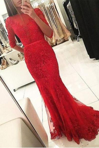 Plus Size Red Lace Appliqued Mermaid Prom Dresses 2018 Sexy Back Open Long Evening Dress Half Sleeve Beaded Women Party Gowns , Plus Size Wedding Party Dress