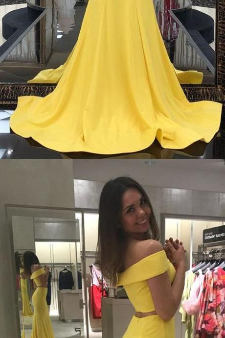 Two Piece, Off the Shoulder ,Yellow Mermaid, Long Prom Dress ,Party Dress ,2018 new fashion ,Prom Dress. Custom Made Evening Dress, Wedding Party Gowns