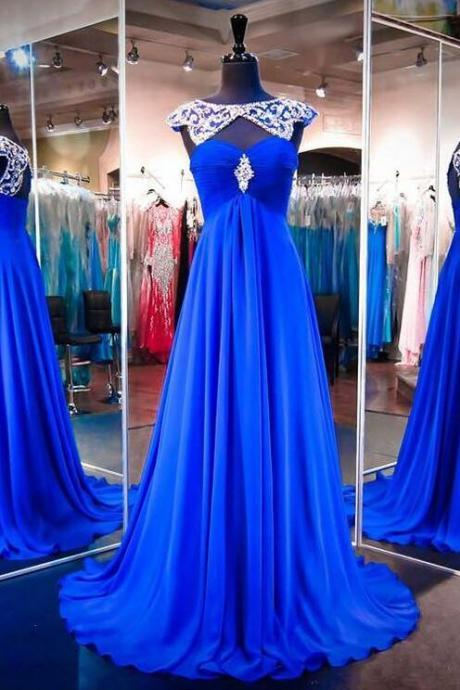Royal Blue Prom Dresses, Long Formal Dresses, Scoop Neck Party Gowns, Chiffon Evening Dress, Modest Women Dresses,2018 Sexy Long Evening Dress, Wedding Party Gowns