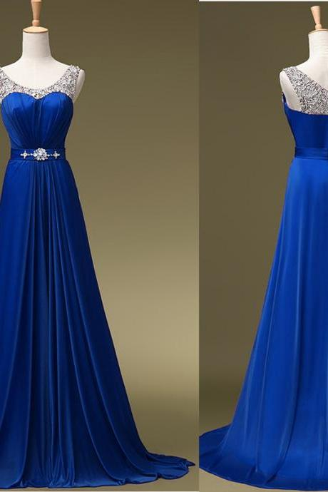 2018 PLus size Beaded Prom Dresses 2018 New Arrival Royal Blue Chiffon Long Prom Gowns Off Shoulder Wedding Party Dress, A Line Prom Gowns , Off Shoulder Prom Gowns