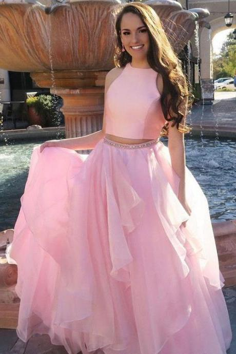 Two Piece Prom Dresses, Elegant Prom Dresses, Long Evening Dress, Pink Homecoming Dress,2018 Sexy Beaded Cocktail Dress . Long Homecoming Dess, Wedding Women Gowns
