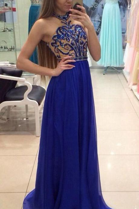 Outlet Sleeveless Royal Blue Prom Evening Dresses Great Long A-line/Princess Sequin Backless Dresses,2018 Shiny Beaded Chiffon Long Prom Dresses,Cusom Made Formal Gowns , Wedding Women Dresses