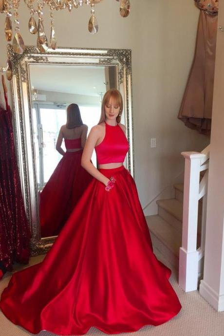 Two-piece Prom Dress, Prom Dress with Pockets, A-line Prom Dress, Halter Prom Dress, Long Prom Dress, Prom Gown, Evening Dress,Halter Prom Gowns , Women Gowns