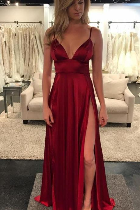 Unique A-Line Spaghetti Straps Sexy Prom Dress,Purple Tulle Long Prom Dress 2018 Sexy Burgundy Satin Long Prom Gowns A Line Evening Dress, 2018 Wedding Party Gowns