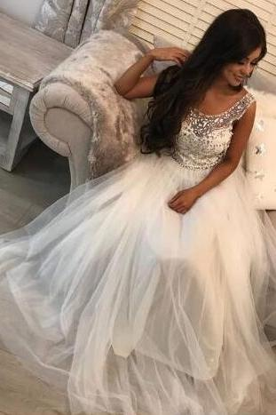 Round Neck Backless Beading Prom Dress,Sexy Prom Dress,A-Line Prom Dress,Floor-Length White Tulle Prom Dress with Beading,2018 Wedding Women Dress, A Line Women Gowns