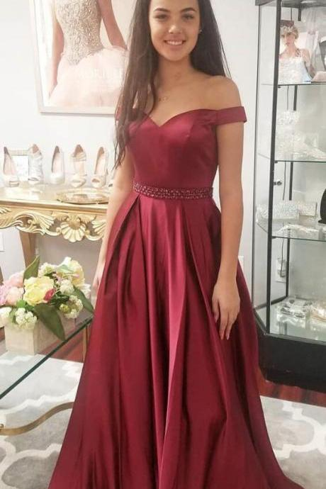 Off the Shoulder Burgundy Prom Dress,Elegant Long Prom Dress,Sexy prom Dress,Stain Prom Dress,Waist Beaded Party Dress,Beaded Women Party Dress, Plus Size Wedding Gowns