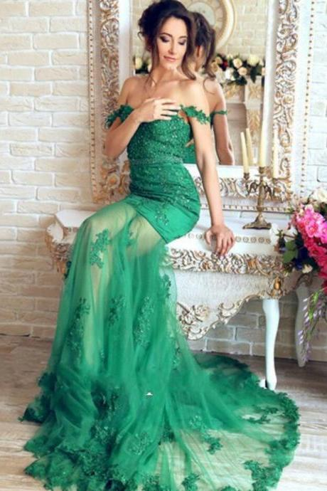 Lace Mermaid Evening Dresses, Tulle Prom Dress,Cheap Prom Dress,Beautiful Emerald Green Prom Dress,Robe De Soiree Prom Dresses,Longue Appliques Evening Dresses,Transparent Sexy prom Dres