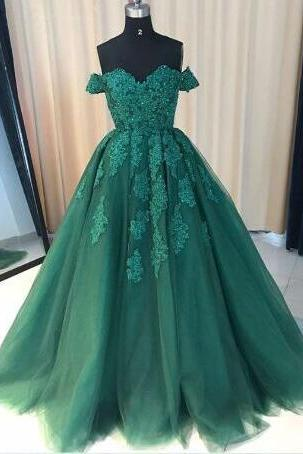 Beautiful green Prom Dress,Sexy Prom Dress,lace tulle prom gown, wedding dress,off the shoulder Prom Dress,beading evening dresses,2018 Plus Size Wedding Dresses
