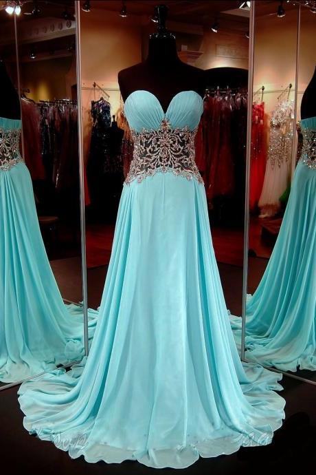 Sexy Sweetheart A Line Waist With Applique Floor Length Chiffon Evening Dress Prom Dresses Party Dresses,2018 Plus Size Women Gowns , Girls Wedding Gowns