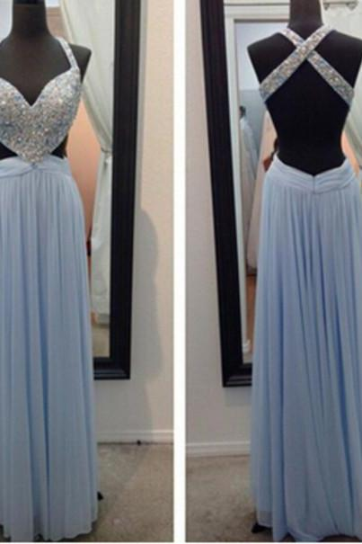 Blue Prom Dresses,Sparkly Prom Dress,Straps Prom Gown,Backless Prom Dresses,A Line Evening Gowns,2016 Evening Gown,Beaded Formal Dress,Open Back Evening Gown For Teen,2018 Sexy Backless Long Women Gowns