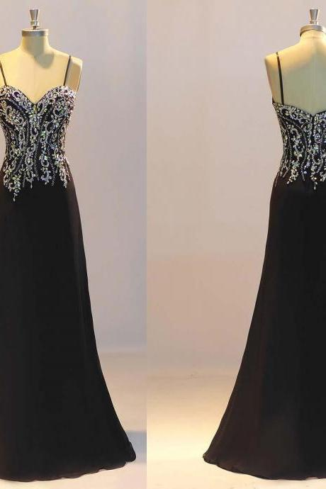 Prom Dresses, Black Prom Dresses,Sheath Prom Dresses, Crystal Evening Dresses ,Custom Made Party Dresses 2018 Black Beaded Formal Evening Dress, Plus Size Wedding Women Gowns