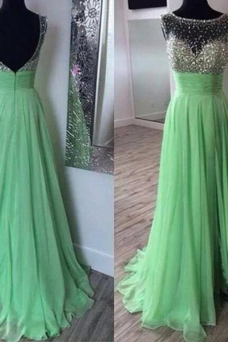 Boat Neck Sleeveless Chiffon Dress With Sashes A Line Floor Length Long Apple Green Prom Dress 2018 New Arrival Formal Evening Dress, Wedding Party Gowns