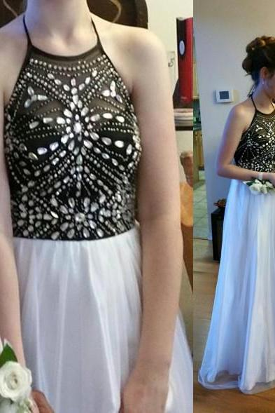 Charming Prom Dress,Halter Prom Dress,A-Line Prom Dress,Sequined Prom Dress,Girl's Graduation Dress,2018 Sparkly Halter Women Party Dress, Long Evening Dress,
