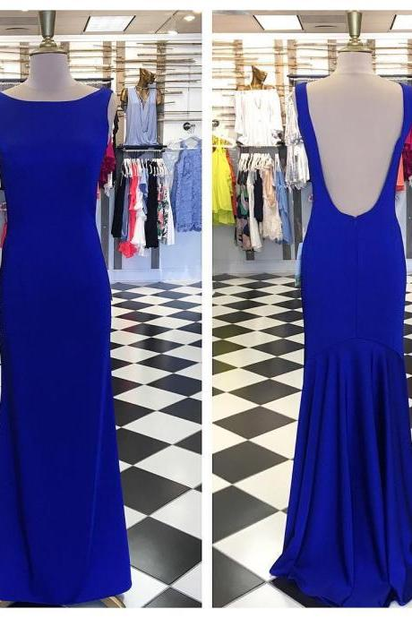 Simply Elegant Royal Blue Mermaid Long Prom Dress with Open Back 2018 Sexy Royal Blue Long Prom Dresses ,Custom Made Formal Evening Dress ,Wedding Guest Gowns
