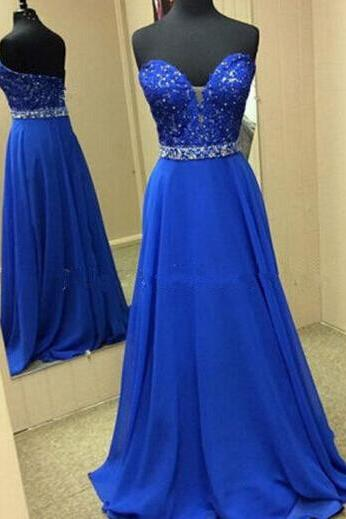 Beautiful Custom Made Blue Sweetheart Prom Dresses Blue Prom Dreses, Simple Prom Dresses, Evening Dresses,2018 Long Evening Dress, Women Pageant Gowns