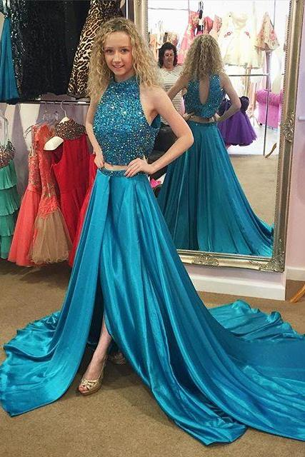 New Arrival 2018 Customize Blue Heavy Beading satin Prom Dress Sexy Slit Two piece Sleeveless Evening dress Formal Dresses A-Line Evening Gown Long Tank Party dress, 2 Pieces Long Women Party Gowns