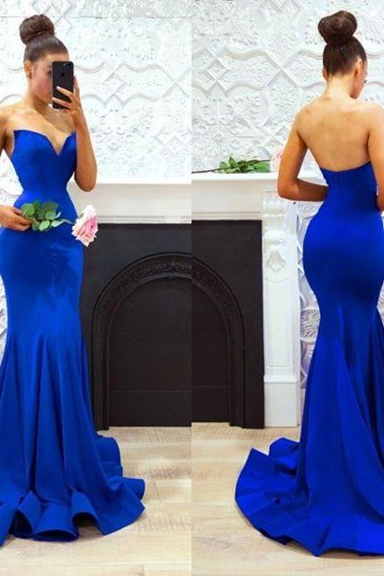 2018 New Arrival Royal Blue Satin Mermaid Prom Dresses Custom Made Wedding Party Gowns Off Shoulder Wedding Party Gowns ,Long Evening Gowns Girls Party Dresses