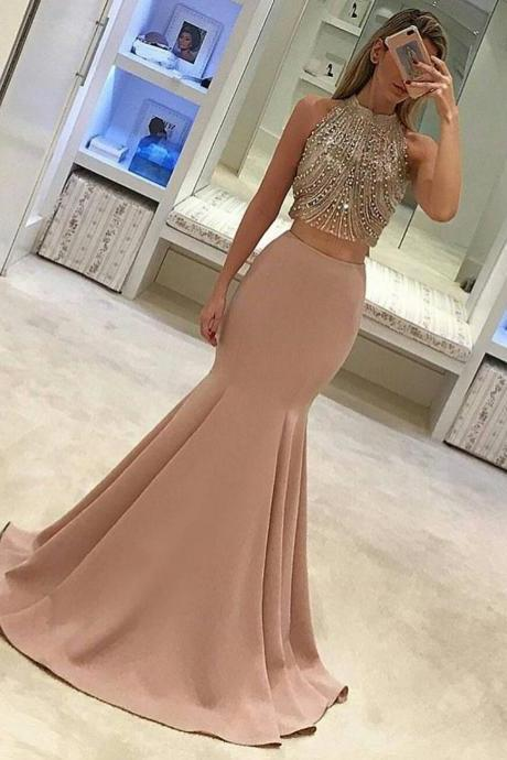 Two Piece Prom Dress, 2018 Prom Dress, Mermaid Long Prom Dress, Gorgeous Formal Evening Dress,Plus Size Beaded Mermaid Evening Dress,Two Pieces Cocktail Dresses